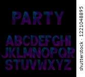 bright neon alphabet. font for... | Shutterstock .eps vector #1221048895