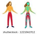 body silhouette and skeleton ... | Shutterstock .eps vector #1221061912