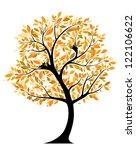 autumnal tree with bird nests....   Shutterstock .eps vector #122106622