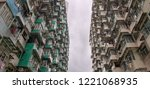 overcrowded residential... | Shutterstock . vector #1221068935