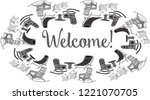 on a white background a frame... | Shutterstock .eps vector #1221070705