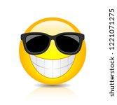 cool happy emoji with... | Shutterstock .eps vector #1221071275