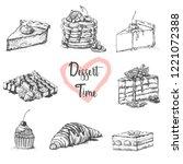 sketch set of dessert.hand...   Shutterstock .eps vector #1221072388