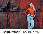 lifestyle fashion portrait of... | Shutterstock . vector #1221075742