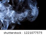 thick smoke on a black isolated ... | Shutterstock . vector #1221077575
