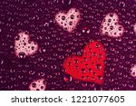 water drops with many hearts... | Shutterstock . vector #1221077605