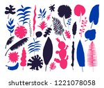 vector set of bright tropical... | Shutterstock .eps vector #1221078058