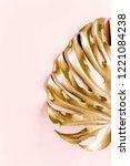 golden tropical palm leaf...   Shutterstock . vector #1221084238