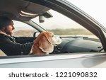 warm dressed man enjoying the... | Shutterstock . vector #1221090832