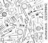 decorative cosmetics for makeup.... | Shutterstock .eps vector #1221098842