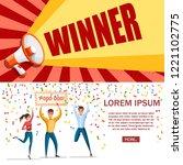 lottery winner. women and man... | Shutterstock .eps vector #1221102775