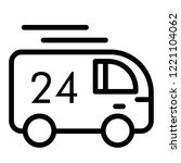 24 hour delivery line icon.... | Shutterstock .eps vector #1221104062