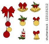 set of christmas decoration... | Shutterstock .eps vector #1221131212