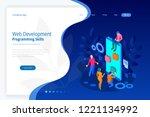 isometric programmer coding new ... | Shutterstock .eps vector #1221134992