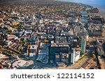 dramatic aerial view of a city...   Shutterstock . vector #122114152