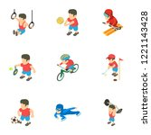exercise icons set. isometric... | Shutterstock .eps vector #1221143428
