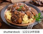 stew with meat  mushrooms and... | Shutterstock . vector #1221149308