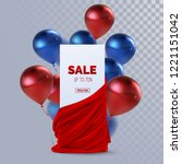sale banner with red silky... | Shutterstock .eps vector #1221151042