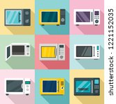 microwave ovens icon set. flat... | Shutterstock .eps vector #1221152035
