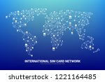 vector polygon sim card network ... | Shutterstock .eps vector #1221164485