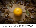 grapefruit and dry leaves on... | Shutterstock . vector #1221167548