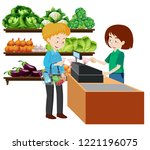 a man at the grocery store... | Shutterstock .eps vector #1221196075