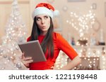Santa Girl With Pc Tablet...