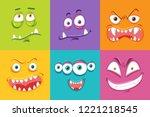 different monster facial... | Shutterstock .eps vector #1221218545