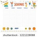 vector weekly planner with... | Shutterstock .eps vector #1221228088