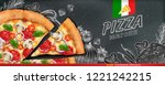 pizza banner ads with 3d... | Shutterstock .eps vector #1221242215