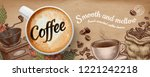 coffee banner ads with 3d... | Shutterstock .eps vector #1221242218
