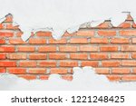 red brick wall with white... | Shutterstock . vector #1221248425