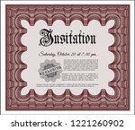 red vintage invitation template....   Shutterstock .eps vector #1221260902