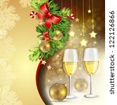 new year's balls and glasses of ... | Shutterstock .eps vector #122126866