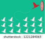 red bird changing direction.... | Shutterstock .eps vector #1221284065