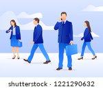 vector set of walking and... | Shutterstock .eps vector #1221290632