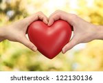 red heart in woman and man... | Shutterstock . vector #122130136