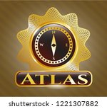shiny badge with compass icon...   Shutterstock .eps vector #1221307882