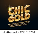 vector golden 3d font. rotated... | Shutterstock .eps vector #1221310288