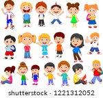 cartoon happy children... | Shutterstock .eps vector #1221312052