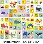 vector set of cards with cute... | Shutterstock .eps vector #1221319465