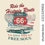 Route 66 typography for t-shirt print with sign route 66 and retro car.Vintage poster. - stock vector