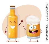 characters   beer  bottle and... | Shutterstock .eps vector #1221329248