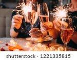 friends celebrating christmas... | Shutterstock . vector #1221335815