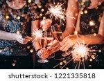 friends celebrating christmas... | Shutterstock . vector #1221335818