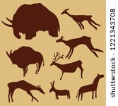 vector set of cave painting... | Shutterstock .eps vector #1221343708