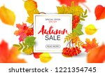 banner for autumn sale in frame ... | Shutterstock . vector #1221354745