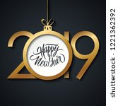 2019 happy new year greeting... | Shutterstock .eps vector #1221362392
