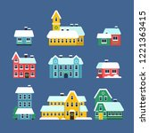 snow roof houses. cold season... | Shutterstock .eps vector #1221363415
