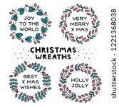 set of christmas wreaths.... | Shutterstock .eps vector #1221368038